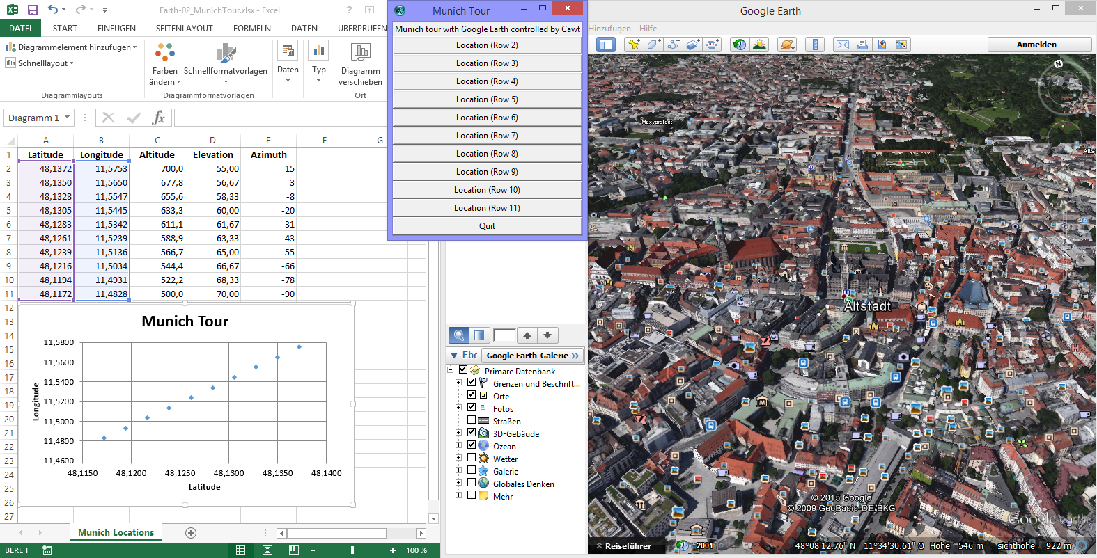 Automation of Excel and Google Earth